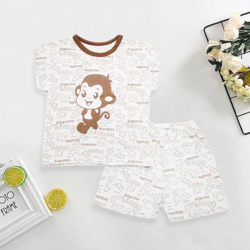 Cute Animal Printed Short-sleeved Pajamas Set