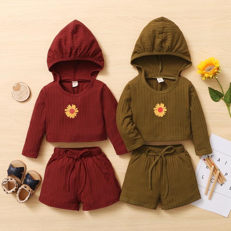 Floral Print Hooded Shorts Set