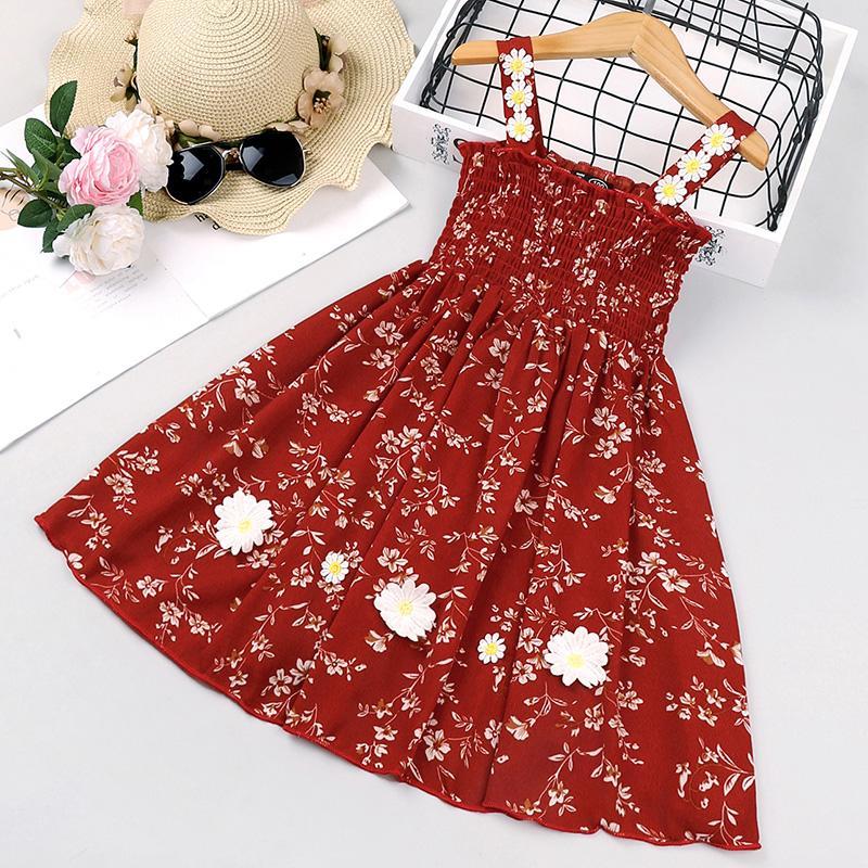Toddler Girl Summer Red Floral Print Sling Dress
