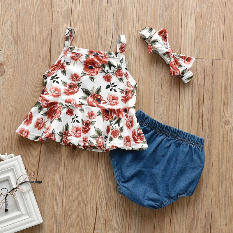 3-piece Floral Printed Dress for Baby Girl
