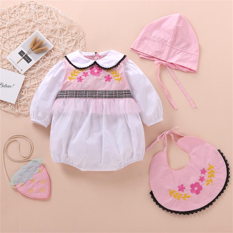 Baby Girl Floral Jumpsuit & Bibs & Hat & Bag Baby Clothes Outfits