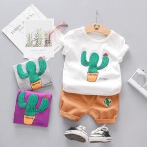2-piece Cactus Pattern T-shirt & Shorts for Toddler Boy