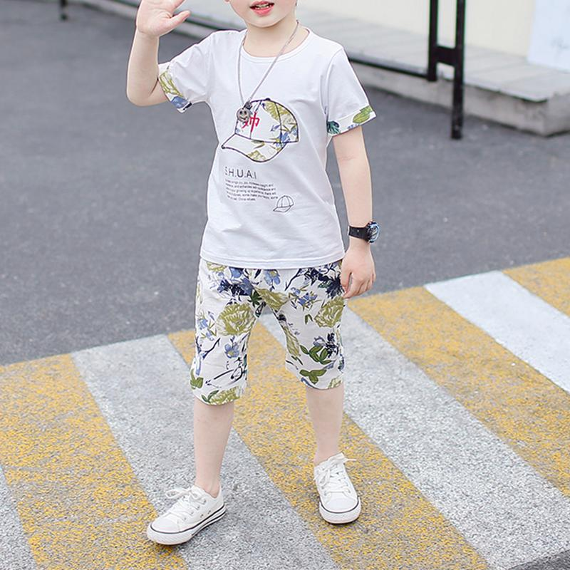 2-piece Letter Pattern T-shirt & Shorts for Boy