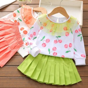 Fruit Print Sweater and Skirt Set