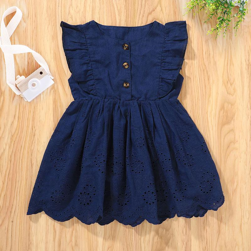 Baby Girl Summer Ruffle Sleeveless Knee Length Dress