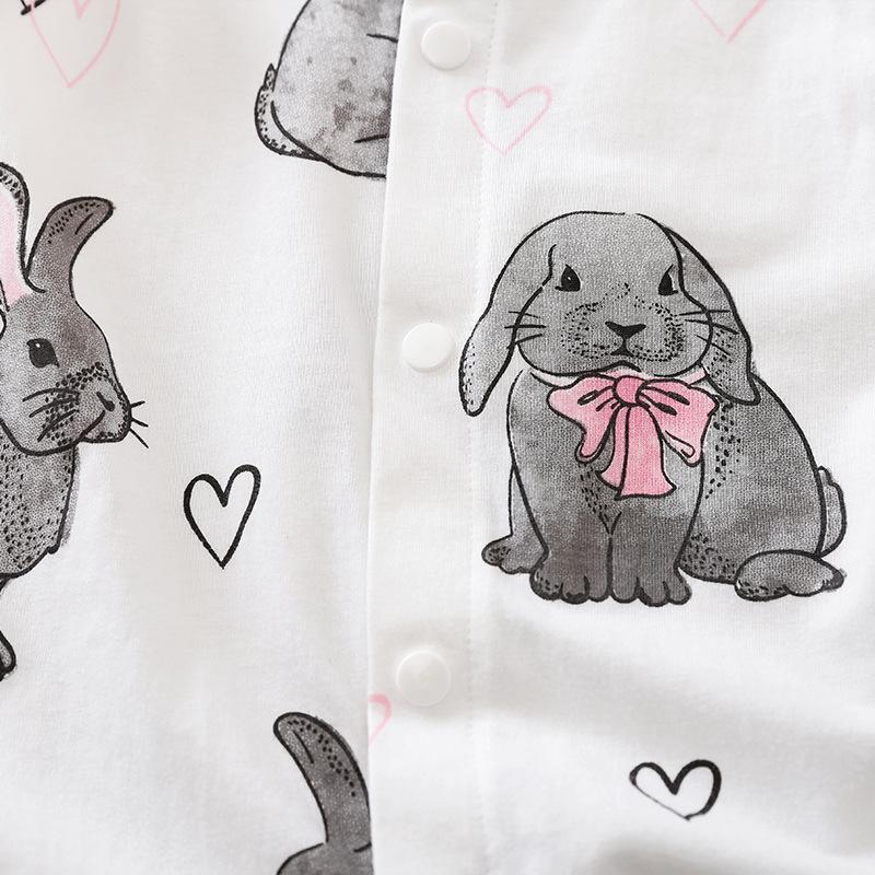 Baby Girl Ruffle Sleeveless Easter Rabbit Romper