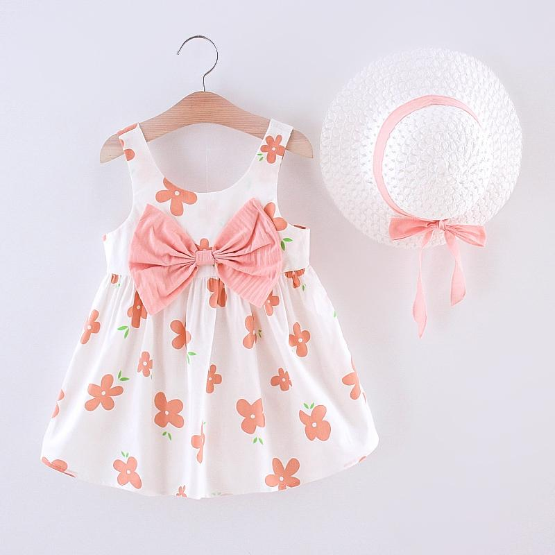 Toddler Girl Cute Floral Dress & Straw Hat