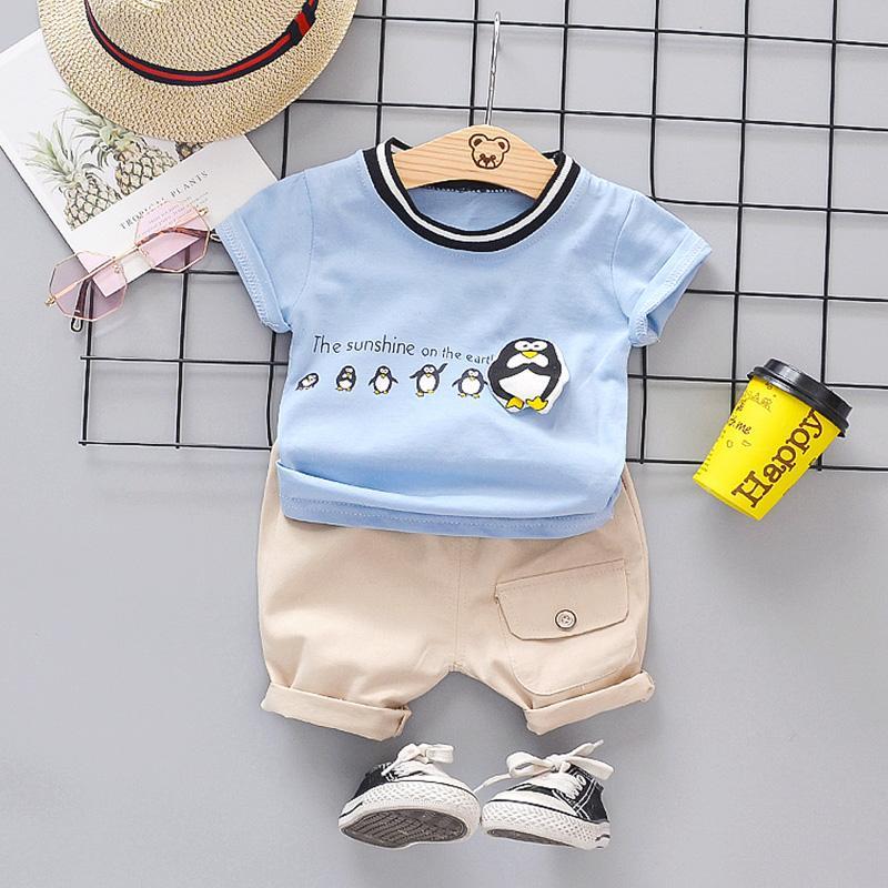 2-piece Penguin Pattern T-shirt & Shorts for Toddler Boy