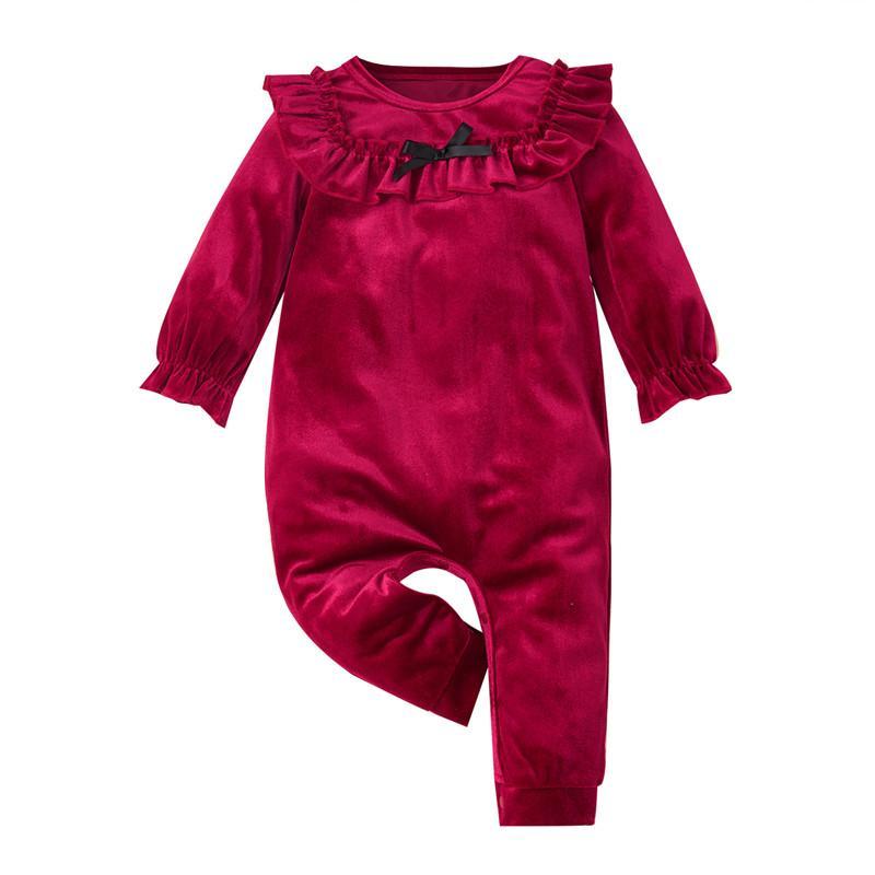 Baby Girl Ruffle Long-sleeved Velvet Jumpsuit