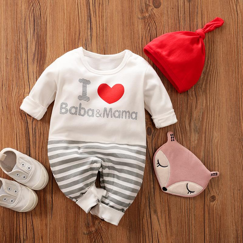 2-Piece Lovely Heart and Letters Long-Sleeve Jumpsuit with Hat Set for Baby