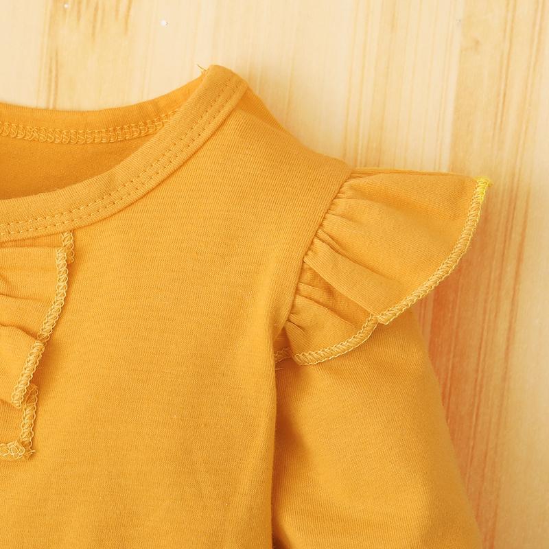 3pcs Flounced Long-sleeve Top and Pants Set