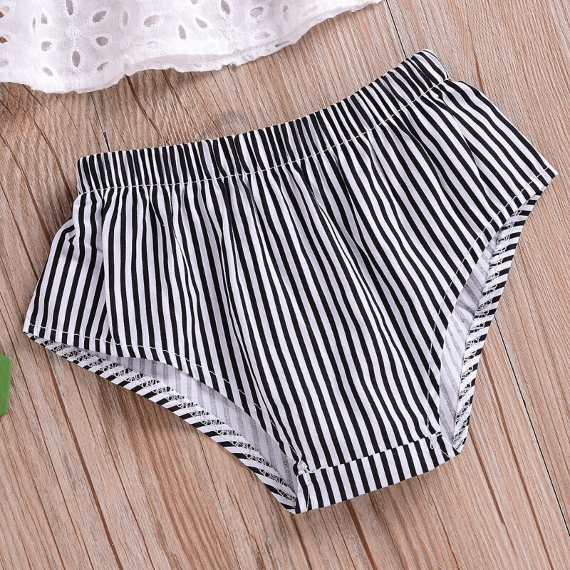 3-Piece Solid Off Shoulder Top, Striped Shorts and Headband