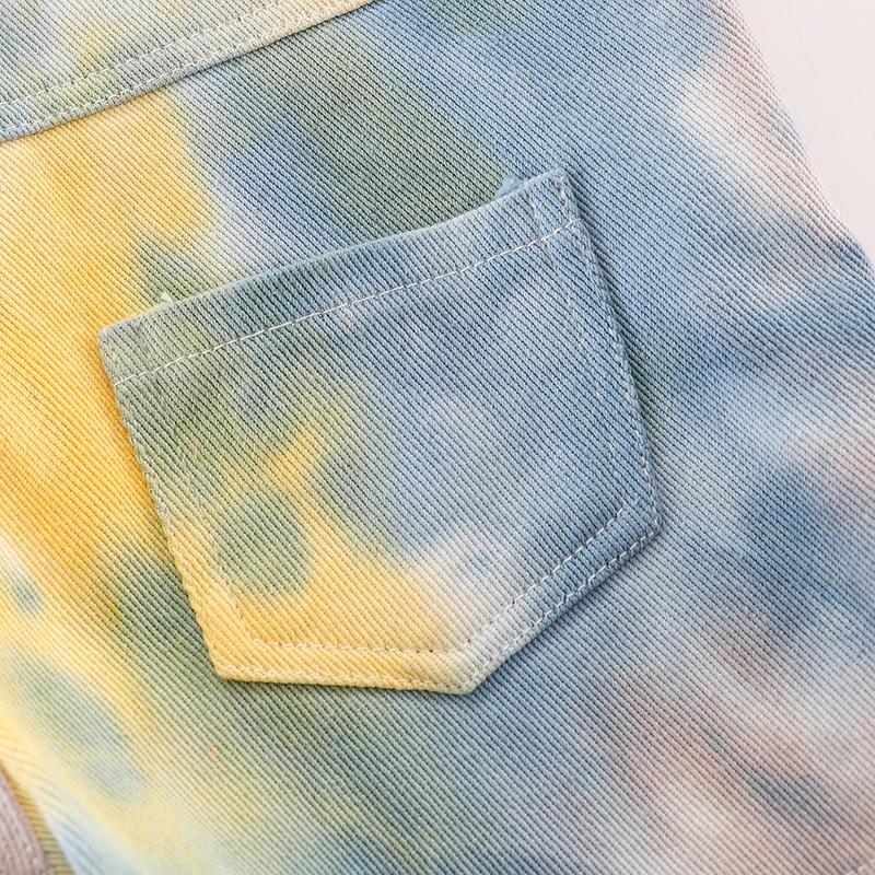 Toddler Girl Summer Tie Dye Knee Length Bib Pants