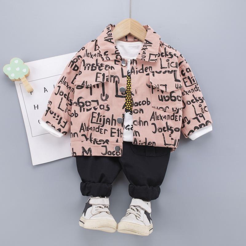 Toddler Boy Clothes Set Coat & Star Pattern Sweatshirt & Pants