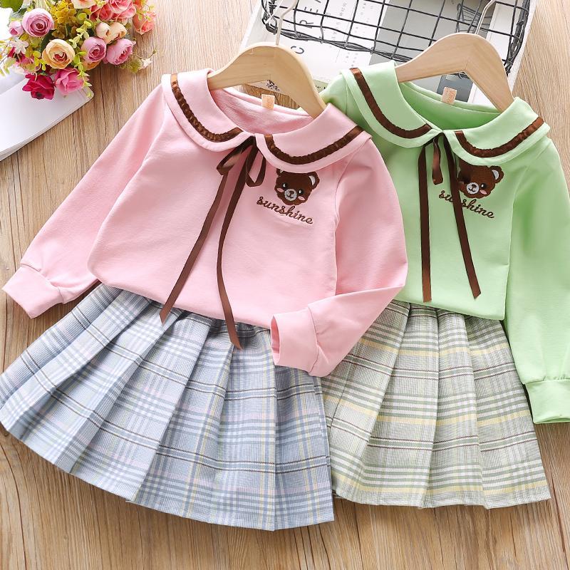 Bear Print Sweatershirt and Skirt Set for Girls