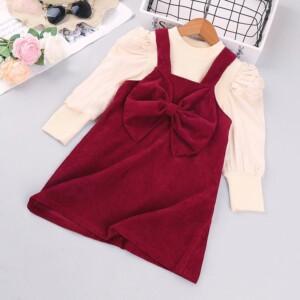 2-piece Bowknot Dress Set for Toddler Girl