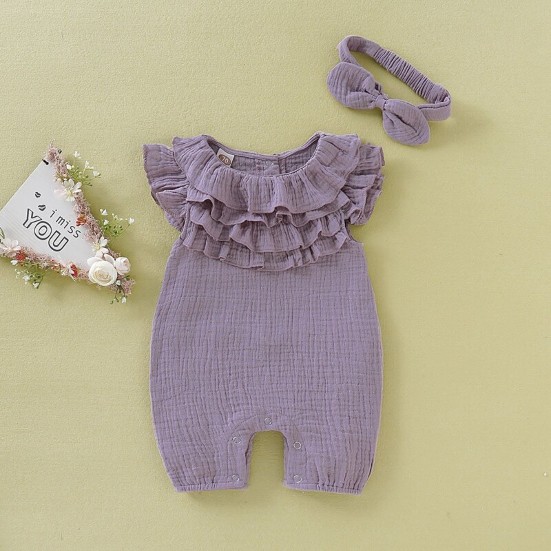 Cozy Solid Ruffled Jumpsuit with Headband for Baby Girls