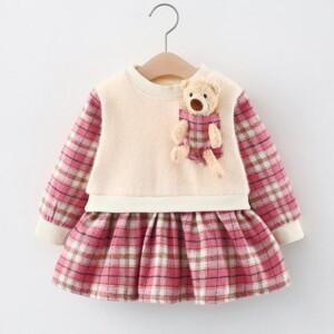 Bear Toy Plaid Dress for Toddler Girl