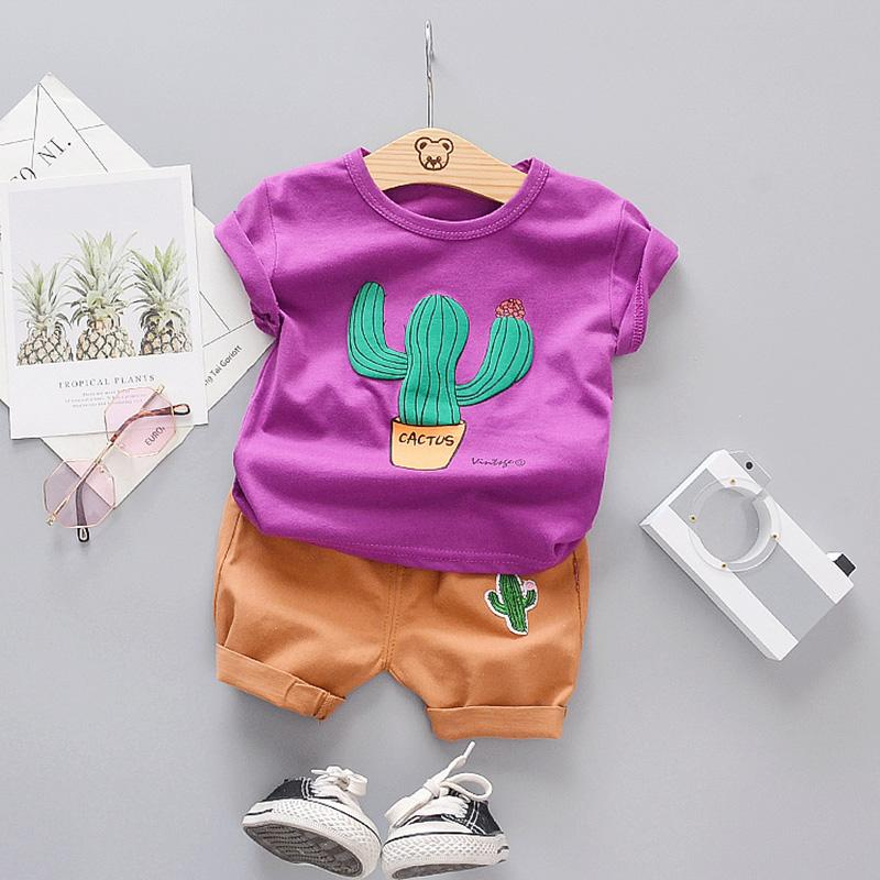 2-piece Cactus Pattern T-shirt & Shorts for Toddler Boy