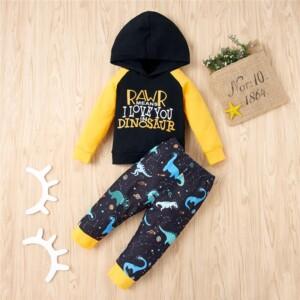 Baby Boy Dinosaur Printing Spring Hoodie & Pants Baby Set