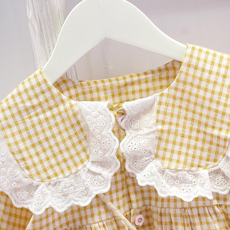 Toddler Girl Cute Plaid Dress with Bag
