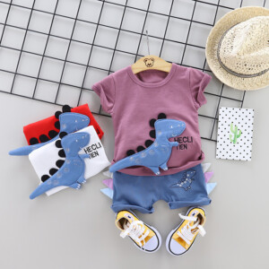 Boys summer short-sleeved suit dinosaur two-piece