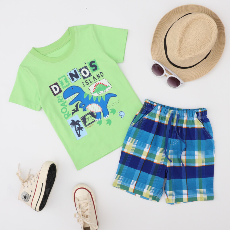 2 Pieces Summer Boy Short-Sleeved T-shirt Dinosaur Suit