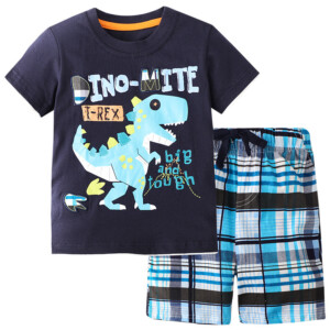 Summer Boy Short-Sleeved T-shirt Dinosaur Suit Two-Piece