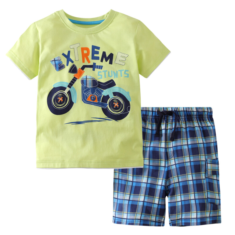 2 Pieces Summer Boy Short-Sleeved T-shirt Motorcycle Suit