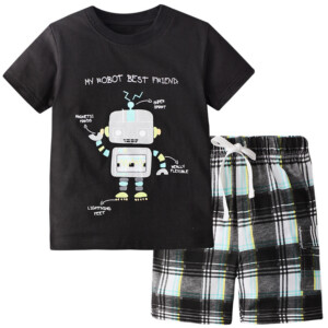 Summer Boy Short-Sleeved T-shirt Robot Suit Two-Piece
