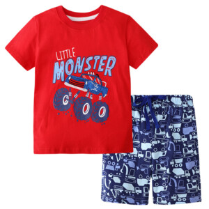 Summer Boy Short-Sleeved T-shirt Monster Car Suit Two-Piece