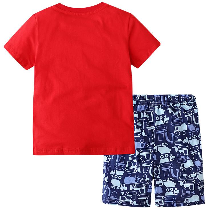 Summer Boy Short-Sleeved T-shirt Monster Car Suit Two-Piece