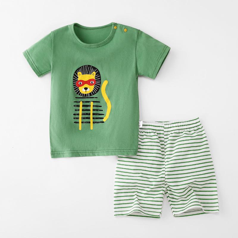 Baby Toddler Short Sleeve Set Shorts Cotton Cartoon Lion