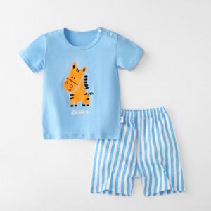 Baby Toddler Short Sleeve Set Shorts Cotton Cartoon Zebra