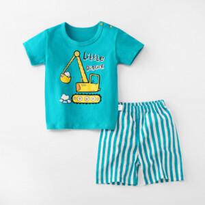 Baby Toddler Short Sleeve Set Shorts Cotton Cartoon Excavator