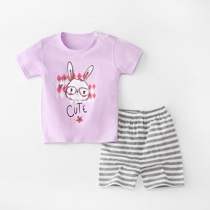 Baby Toddler Short Sleeve Set Shorts Cotton Cartoon Rabbit