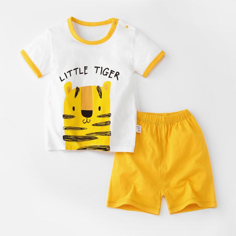 Baby Toddler Short Sleeve Set Shorts Cotton Cartoon Tiger