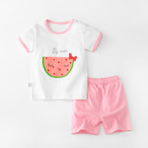 Baby Toddler Short Sleeve Set Shorts Cotton Cartoon Watermelon