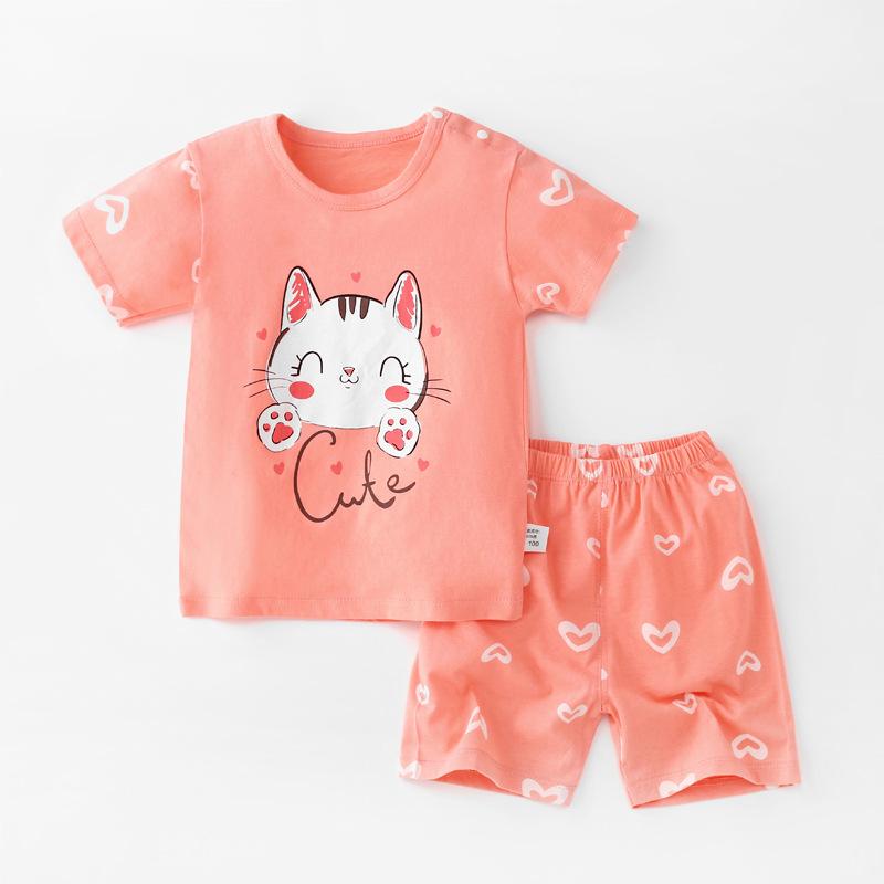 Baby Toddler Short Sleeve Set Shorts Cotton Cartoon Cat