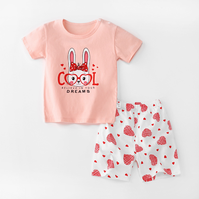 Baby Toddler Short Sleeve Set Shorts Cotton Cartoon Rabbit