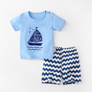Baby Toddler Short Sleeve Set Shorts Cotton Cartoon Sailboat