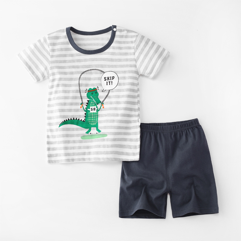 Baby Toddler Short Sleeve Set Shorts Cotton Cartoon Crocodile