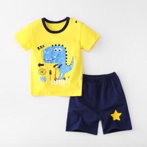 Baby Toddler Short Sleeve Set Shorts Cotton Cartoon Dinosaur