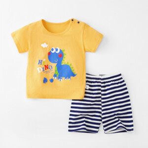 Baby Toddler Short Sleeve Set Shorts Cotton Cartoon Dinosaur