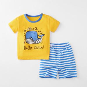 Baby Toddler Short Sleeve Set Shorts Cotton Cartoon Whale