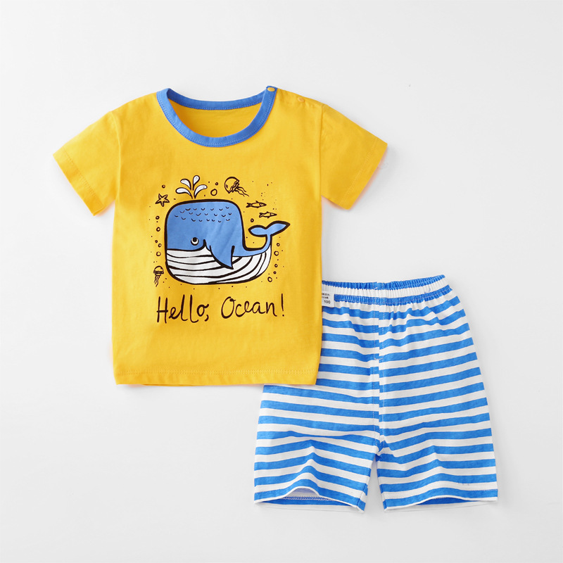 Baby Toddler Short Sleeve Set Shorts Cotton Cartoon Whale