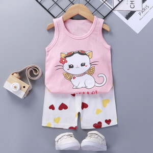 Baby Toddler Summer Vest Shorts Suit Cartoon Cat