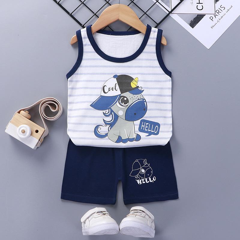 Baby Toddler Summer Vest Shorts Suit Cartoon Unicorn