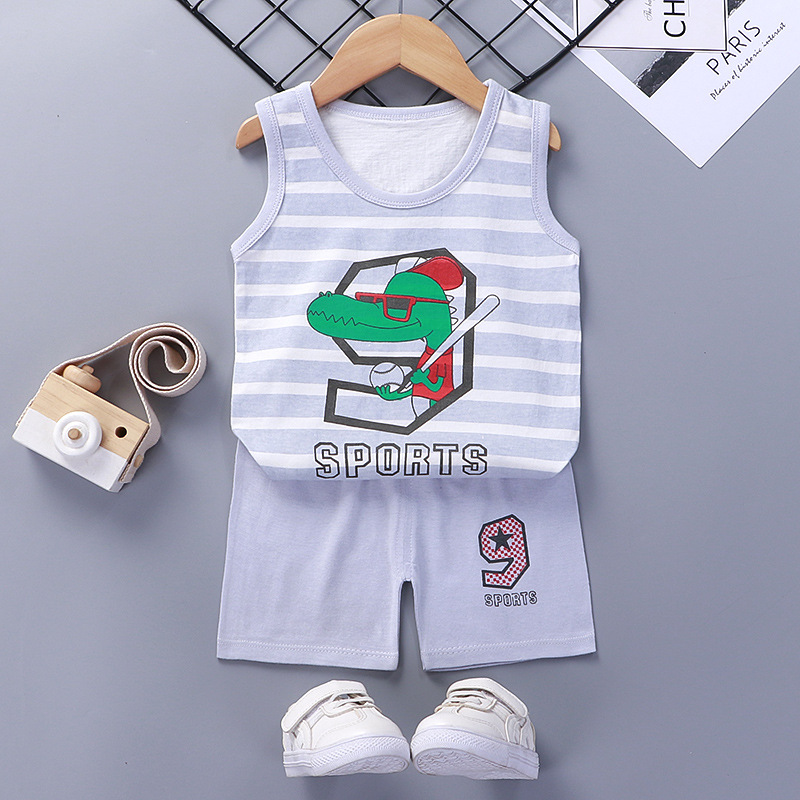Baby Toddler Summer Vest Shorts Suit Cartoon Crocodile