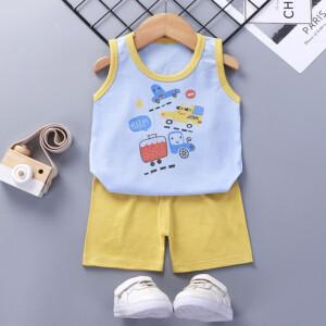 Baby Toddler Summer Vest Shorts Suit Cartoon Car
